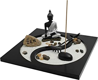 Royal Brands Yin and Yang Zen Garden with Buddha, Rake, Sand and Rock Garden, and Incense Holder – Peace and Tranquility (9