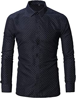 Men's Slim Fit Point Collar Button Down Dress Shirt 100% Cotton Casual Long Sleeve Printed Dress Shirts Navy Blue