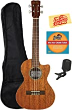 Cordoba 20TM Tenor Cutaway Acoustic-Electric Ukulele Bundle with Gig Bag, Tuner, Austin Bazaar Instructional DVD, and Polishing Cloth