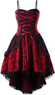 29a61ac22 KENANCY Women s Floral Lace Up Vintage Dress Plus Size Strappy High Low  Layered Corset Dress