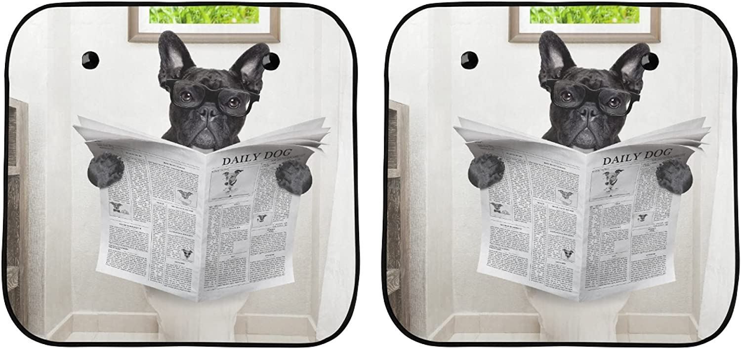 YPink Sun Window Shade French Dog Sitting Toilet Shipping included free shipping On Bulldog