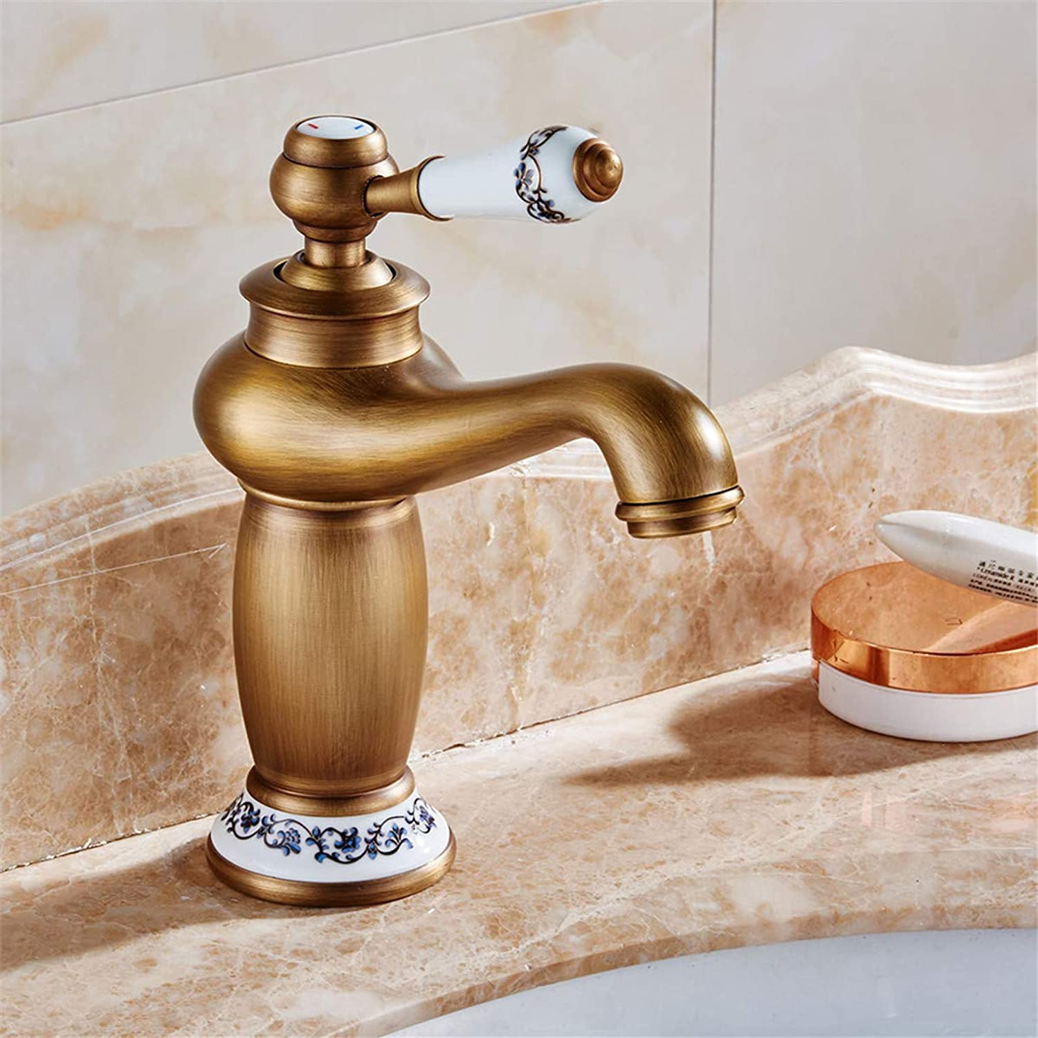 goldYING Taps Faucets??All Copper European Hot And Cold Faucet Antique Basin Faucet Heightening Single Hole Above Counter Basin Faucet Retro Magic Lamp Faucet