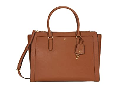 LAUREN Ralph Lauren Crosshatch Leather Brooke 37 Satchel Large