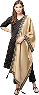 Ahalyaa Women Black & Beige Printed Kurti with Pant & Dupatta