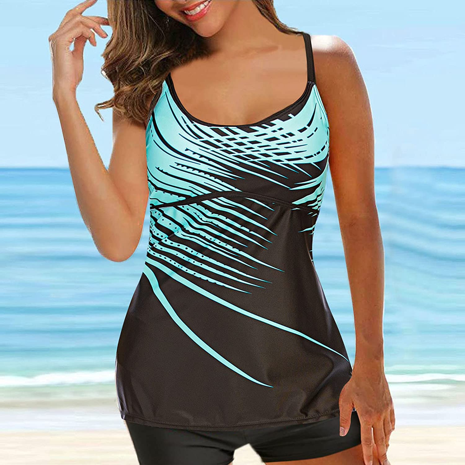 VBNG Swimsuits for Women Tankini Top Bathing Suits Tummy Control Boyshorts Swimming Suits,N210614011