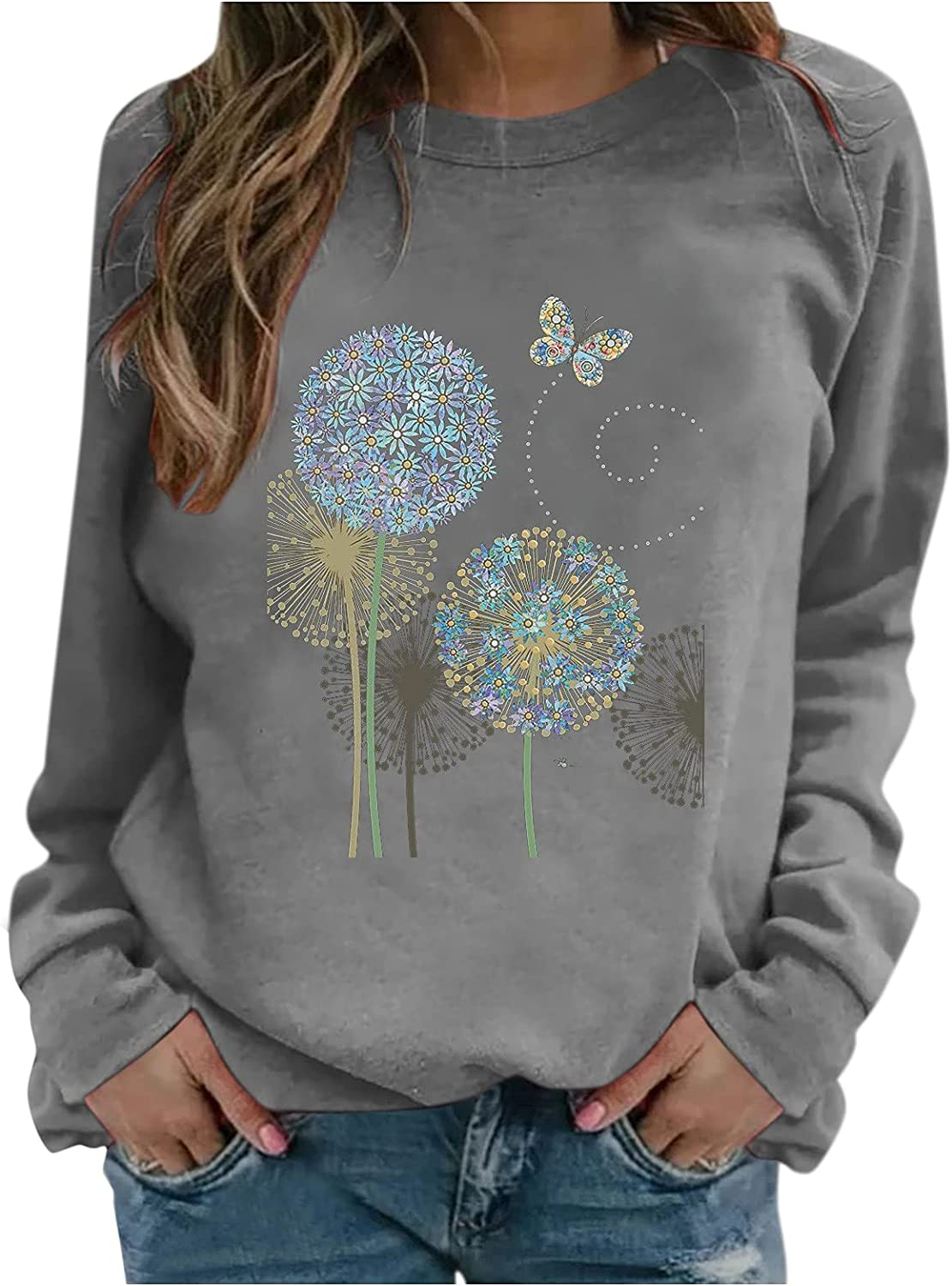 Womens Printing Sweater Round Neck Pullover Casual Long Sleeved Tops T-shirt