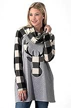 ANGGREK Women's Christmas Deer Tops Cowl Neck Long Sleeve Plaid T-Shirt