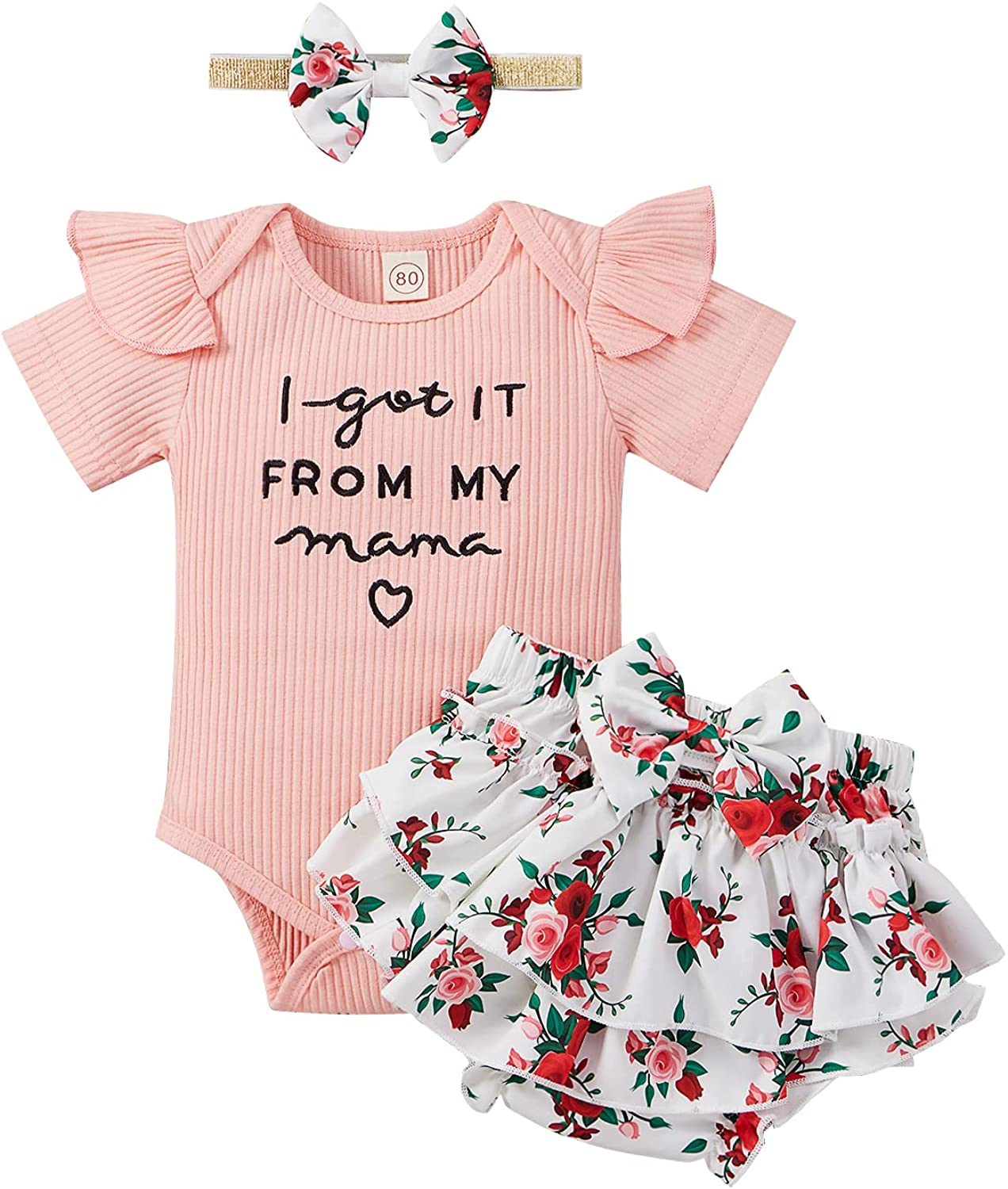 Newborn Infant Baby Girls Clothes Romper Set Cute Funny letters Summer onesie and Floral Shorts with Headband