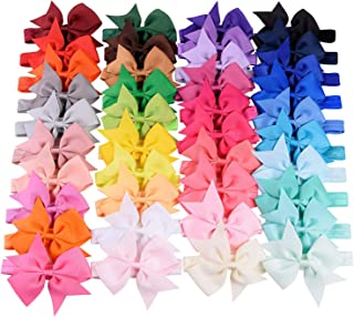 "WillingTee 40 Colors Baby Girls Headbands 4"" Boutique Grosgrain Ribbon Hair Bow Headbands for Baby Girls Infants Toddler N..."