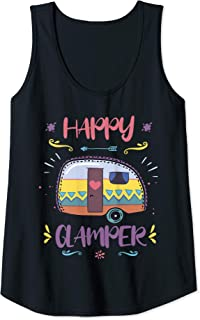 Womens Happy Glamper Camping Lover Girl Camper Camp Vacation TShirt Tank Top