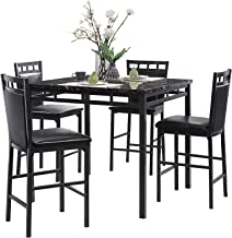 Homelegance 5-Piece Pack Counter Height Dinette Set, Black