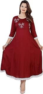 BANAS Women's Rayon Embroidered Ankle Length Anarkali Kurti (Maroon)