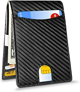 SEAKCOIK Money Clip Genuine Leather Minimalist Credit Card Holder Men's Card Cases Men's RFID Blocking Wallet-Slim Wallet for Men and Women with ID Card Window and Cash Clip