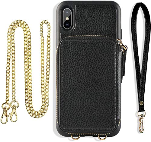 ZVE Case for Apple iPhone Xs and X, 5.8 inch, Wallet Case with Crossbody Chain Strap Credit Card Holder Slot Zipper S...