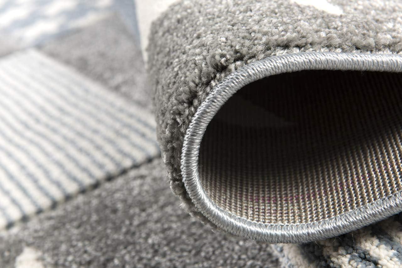 Livone Spielteppich Moderner Teppich mit Konturenschnitt Kinderzimmer Kinderteppich mit Sternen in Weiss Silber grau blau Gr/ö/ße 160 x 220 cm