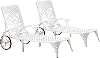 Biscayne White Chaise Lounge Chair Pair by Home Styles