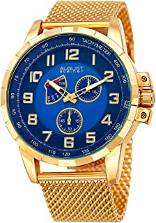 ساعة من اوغست شتاينر للرجال بمينا ازرق وسوار من الستانلس ستيل، وعرض انالوج As8202Ygbu