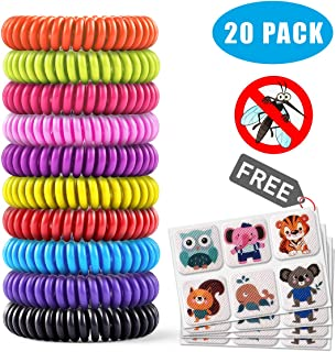 Mosquito Repellent Bracelet 20 Pack with 4 Patches,Waterproof Bug Repellent Wris Bands pest control for Kids & Adults, 100% Natural Deet-free Resealable,Safe Indoor Outdoor Protection