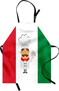 Lunarable Italian Flag Apron, Colorful Caricature Chef Smiling Cuisine Traditional Mediterranean Diet, Unisex Kitchen Bib with Adjustable Neck for Cooking Gardening, Adult Size, Green Red