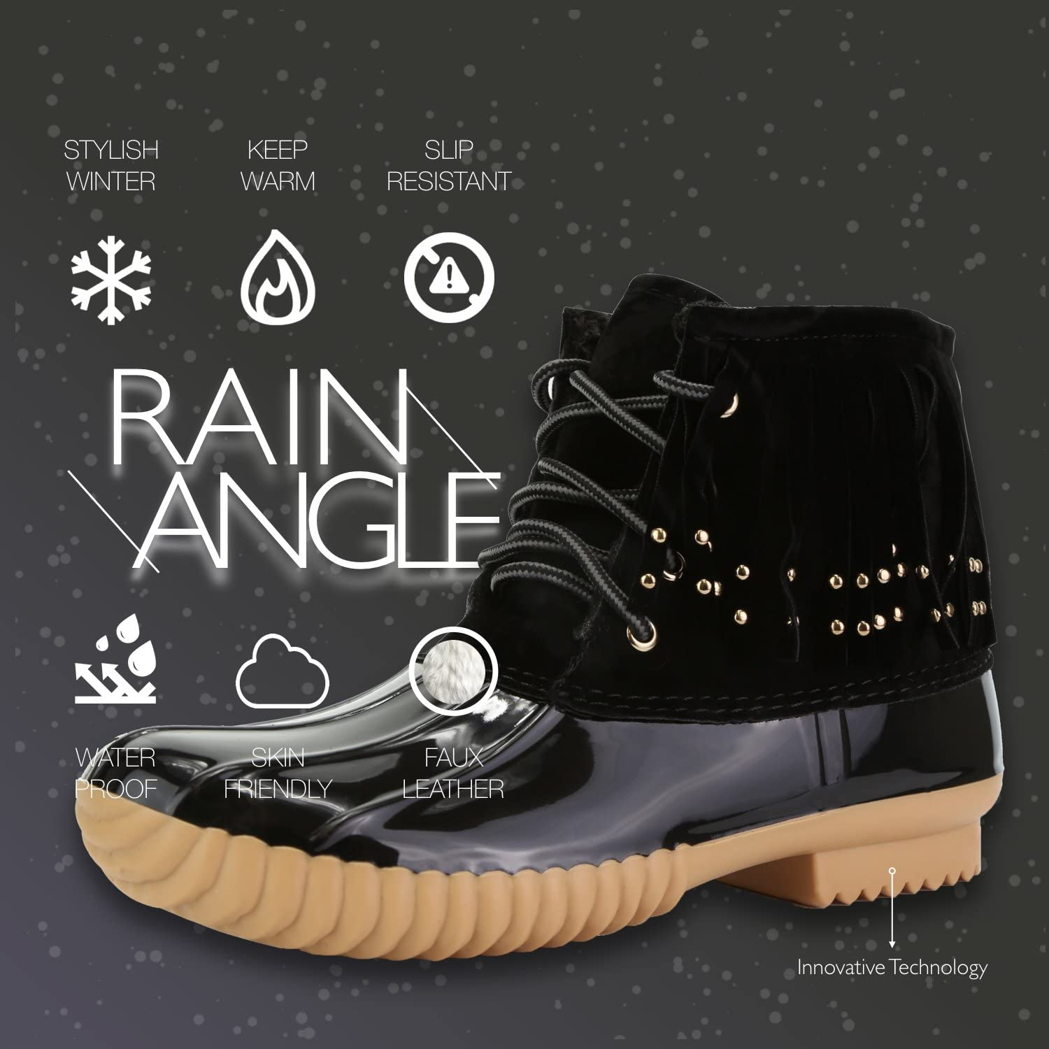 DailyShoes Women's Snow Booties Lace Up Ankle High Fringe Collar Duck Padded Mud Rubber Rain Boots