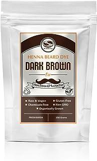 Dark Brown Henna Beard & Hair Dye for Men-100% Chemical Free & Natural for Hair, Beard, Mustache- 2 Step Process (150 Grams, Dark Brown)