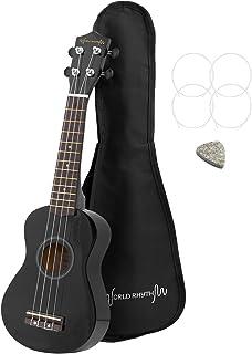 World Rhythm Soprano Ukulele – Premium Beginner Soprano Uke in Black Finish with Gig Bag, Spare Ukulele Strings & Felt Pic...