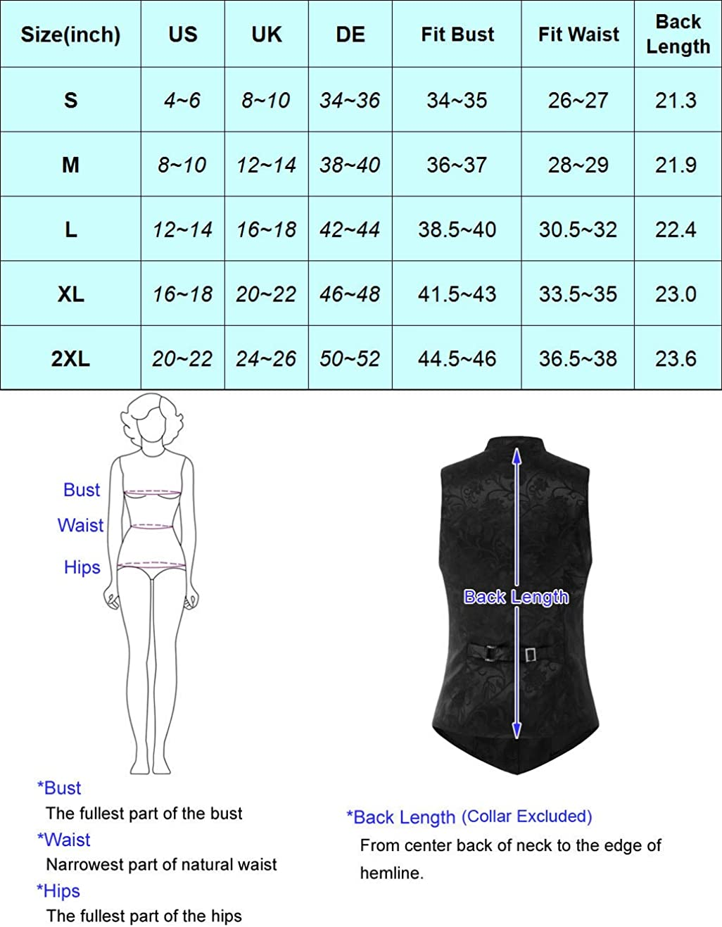 Women's Fully Lined Vest Formal Business Dress Suits Button Down Steampunk Vintage Waistcoats