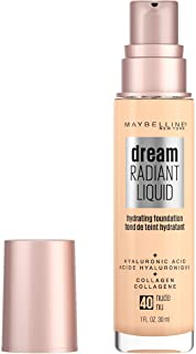 Maybelline Dream Radiant Liquid Medium Coverage Hydrating Makeup, Lightweight Liquid Foundation, Nude, 1 Fl; Oz