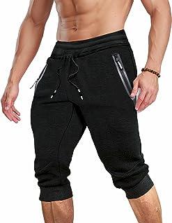 MAGCOMSEN Men's 3/4 Jogger Sweatpants with Zipper Pockets Knee Length Running Training Workout Capri Shorts