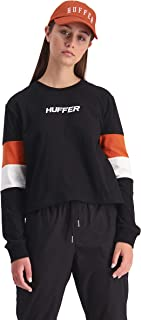 Huffer Women's TRI LS Bella TEE, Blk/Orange