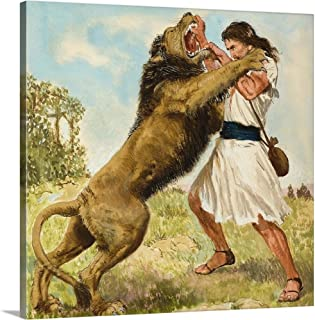 GREATBIGCANVAS Gallery-Wrapped Canvas Samson Fighting a Lion by Clive Uptton 16