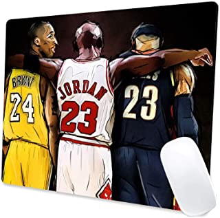 Gaming Mouse Pad,Jordan Kobe and James Legends Fan Tribute Mouse Pad Non-Slip Rubber Base Mouse Pads for Computers Laptop Office, 9.5