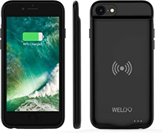 WELUV Wireless Battery Case for iPhone 8 Plus 7 Plus 6s Plus 6 Plus Portable 4000mAh Rechargeable Protective Qi Charging Case Extended Battery Pack Charger Case Black
