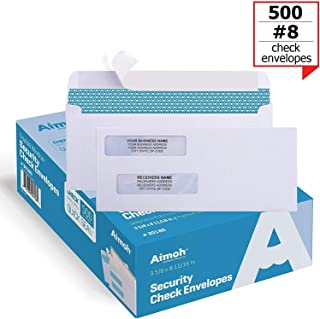 500#8 Self Seal Double Window Security Check Envelopes - Size 3 5/8 x 8 11/16 Inches - for Business Checks, Fits Perfectly (No Sliding or Moving) - Not for Invoices, 500 Count (30180)