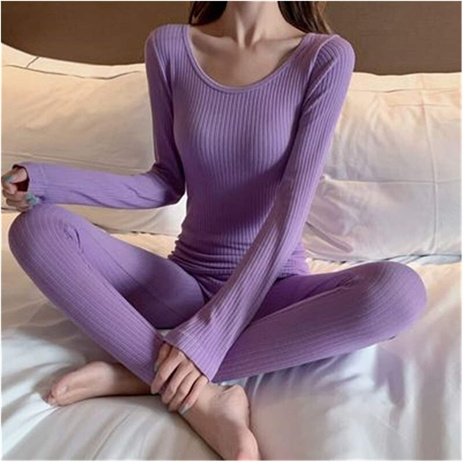 Glqwe Sexy Slim Women Winter Clothes Cotton Thermal Underwear Set Female Second Skin Thin Long Johns Ladies Pajamas Warm Suit (Color : Purple, Size : One Size)