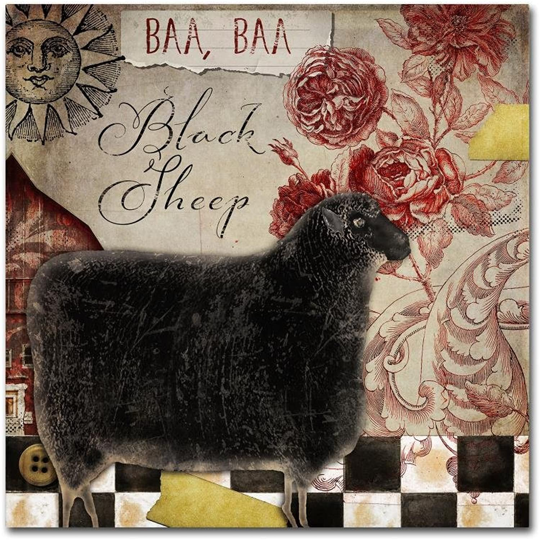 Trademark Fine Art Baa Baa Black Sheep by color Bakery, 14x14 Canvas Wall Art