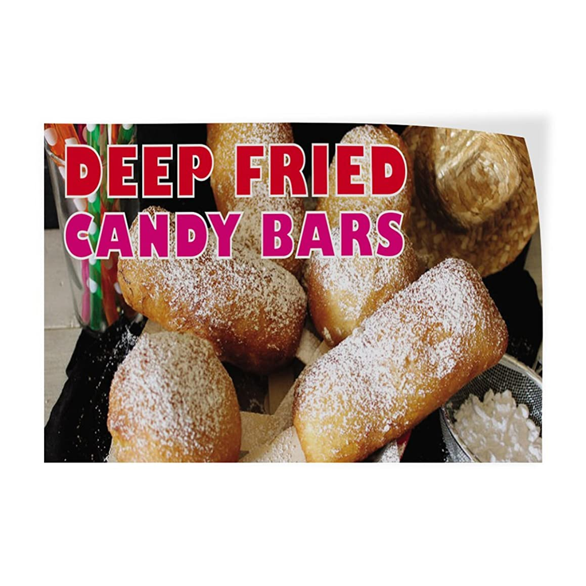 Decal Sticker Multiple Sizes Deep Fried Candy Bars #1 Style D Retail Deep Fried Candy Bars Outdoor Store Sign White - 36inx24in, Set of 10