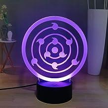 Naruto Shippuden 3D Anime LED nachtlampje, Uchiha Sasuke Rinnegan 16 kleuren bureaulamp, bedlampje, afstandsbediening, US...
