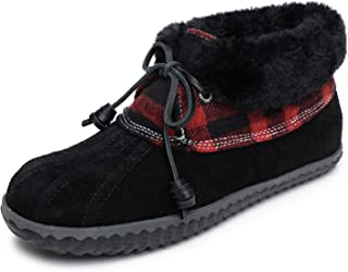 Sperry Women's Pile-Lined Duck Slipper, 6, M, Black/Red
