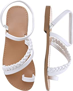 Women Toe Ring Gladiator Flat Sandals Elegant Strappy Flip Flops Casual Comfortable Beach Shoes