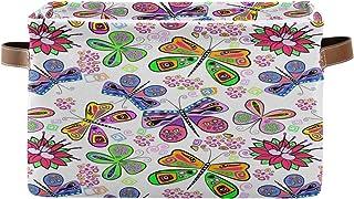 Tropicallife F17 Panier de rangement coloré en toile avec poignée, motif papillon, animaux, fleurs, boîte de rangement pli...