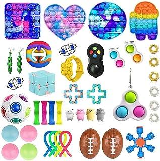 KKPLZZ 42Pcs Sensory Fidget Toys Set, Relieves Stress and Anxiety Fidget Blocks Fidget Pack, Simple Bubble Fidget Box for ...