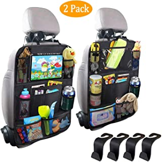 Car Organizer Back Seat, with 11inch Clear Tablet Holder for Kid/Travel with 9 Pocket, Seat Back Protectors Kick Mats for Toy Bottle Book Drink, Fit Travel Accessories for Kid & Toddlers (2 Pack)