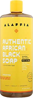 Alaffia Authentic African Black Soap All-in-One, Unscented, 32 Oz. Body Wash, Facial Cleanser, Shampoo, Shaving, Hand Soap...