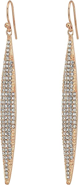 Rose Gold Pave Linear Spear Drop Earrings