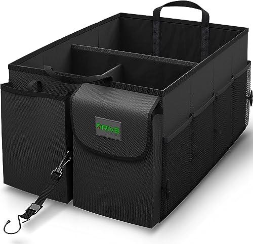 Drive Auto Trunk Organizers and Storage - Collapsible Multi-Compartment Car Organizer w/ Adjustable Straps - Automoti...