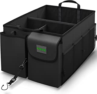 Drive Auto Products Car Trunk Organizer Storage with Straps, Black, 1-Pack