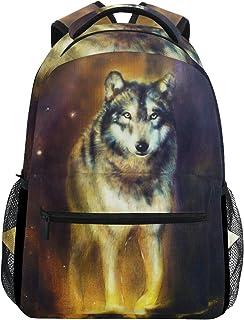 Lobo portraitoil Pintura Casual Mochila Mochila Escolar Bolsa de Viaje Multicolor