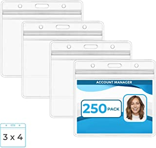 Mata1 Large Plastic Card Holder (Clear, 3 x 4 Inch, 250 Pack), Waterproof Horizontal Badge Holder for ID Name Badge with Zipper