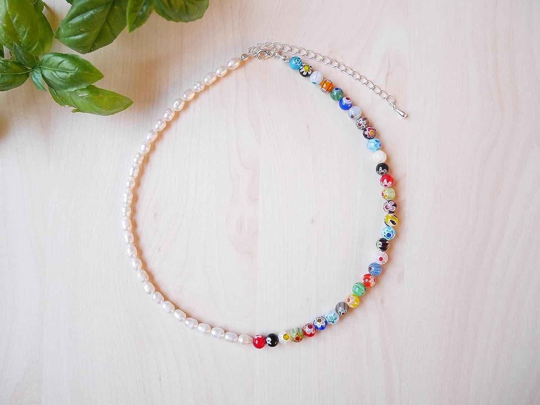 Sale Half pearl half millefiori beaded necklace - Indianapolis Mall colorful